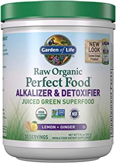 Garden of Life Raw Organic Perfect Food Alkalizer & Detoxifier Juiced Greens Superfood Powder - Lemon Ginger, 30 Servings ...