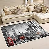 Naanle - Alfombra Antideslizante para salón, Comedor, Dormitorio, Cocina, 50 x 80 cm, diseño de la Torre del Big Ben de Londres, 60 x 90 cm(2' x 3')