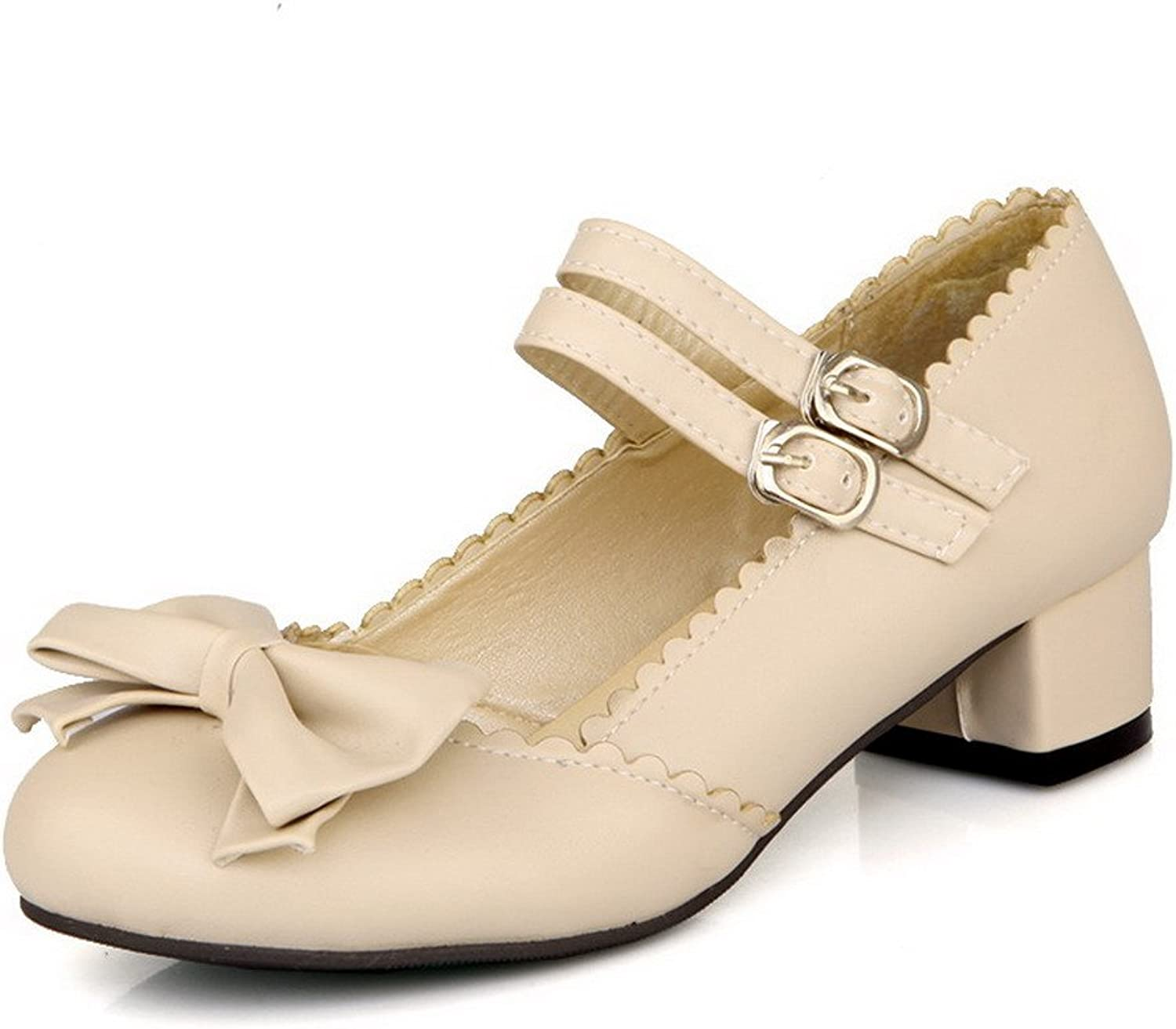 WeiPoot Women's PU Soft Material Round Closed Toe Low-Heels Pumps-shoes, Beige, 34