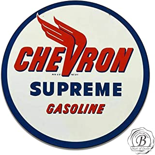 Brotherhood Chevron Supreme Gasoline Motor Oil Gas Classic Emblem Seal Vintage Gas Signs Reproduction Car Company Vintage Style Metal Signs Round Metal Tin Aluminum Sign Garage Home Decor