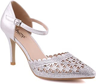 """Unze Women """"MARLENE"""" Pointy Toe Cut Out Sexy Mid-High Heel Girls Pump Shoes Formal Slip-On Ankle Strap Party Sandals UK Size 3-8 - 182-20"""