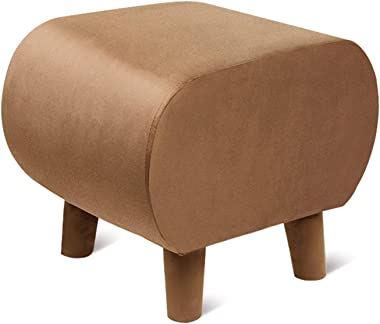 LIXIONG Ottoman, Tufted Upholstered Footrest Stool with Anti-Slip Pad and Removable Legs Shoes Bench for Bedroom Living Room,
