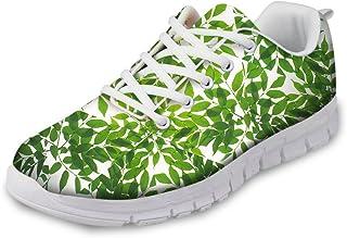Flowerwalk Sportschoenen voor dames, met bladermotief, loopschoenen, veters, sneakers, modieus, vrijetijdsschoenen, comfor...