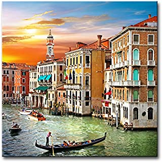 Wall Art Decor Poster Painting On Canvas Print Pictures Scenic Views Of Venice Canal Boat Italy Town Landscape Framed Pict...