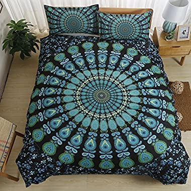 Cusphorn Turquoise Teal Duvet Cover Set, Bohemian Boho Chic Printed on Black, Soft Microfiber Bedding with Zipper Closure, Full/Queen Size