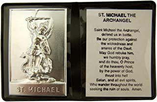 WJH Metal Catholic Patron Saint Plaque with Prayer in Leatherette Pocket Folder, 2 1/4 Inch