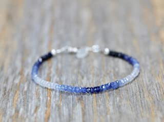 Blue Sapphire Stone Ombre Pattern Sterling Silver Bracelet -September Birthstone- 7 Inch Length