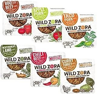 Wild Zora - Meat & Veggie Bars - 6 Flavor Paleo Snack Pack (12-pack) Includes 2 each, of 6 Paleo flavors