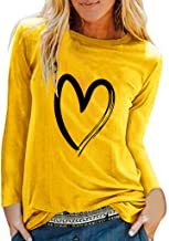 KANGMOON Women's Casual Loose Plus Size Heart Print Tops Long Sleeve Round Neck Pullover Tunic T Shirt Blouse