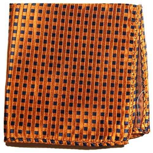 Paul Malone de carré de poche mouchoir 100% soie Orange carreaux