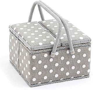 Hobbygift Colección de Valor: Caja de Costura (L): Doble Tapa: Cuadrado: Gris Lino Lunares, Mezcla de algodón, 25x 25x 17cm