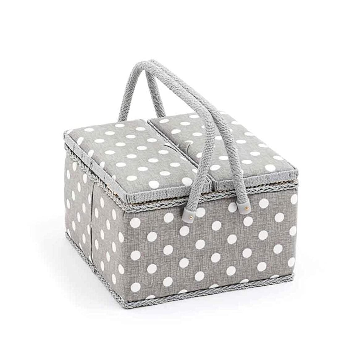 Hobby Gift 'Grey Polka Dot' Twin Lid Large Square Sewing Box 25 x 25 x 17cm (d/w/h)
