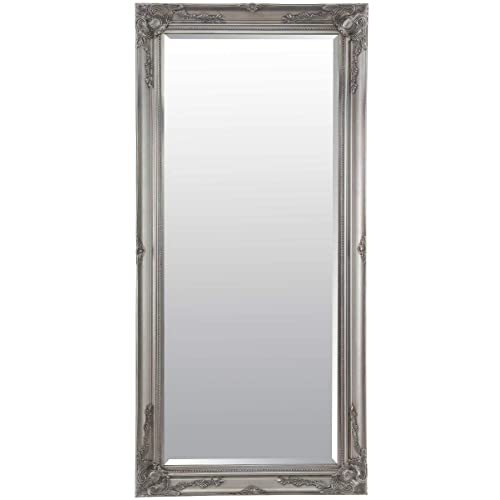 a27c61e5f85b Large Full Length Leaner Classic Ornate Styled Silver Mirror 5ft7 x 2ft7  (170cm x 79cm