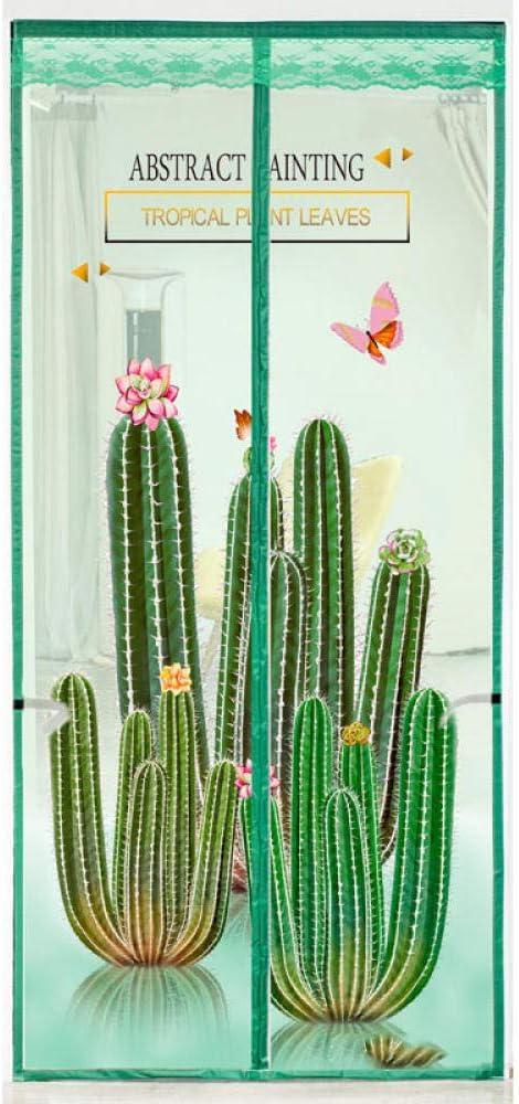 Patrón De Cactus Cortina Mosquitera 120x210cm / 47x82inches Mosquito Ventana para Puertas corredizas de balcón Sala de Estar,Fácil de Montar sin Taladrar