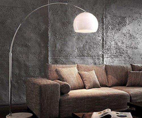 DELIFE Lampe Big-Deal Eco Lounge Weiss Marmor verstellbar Bogenleuchte