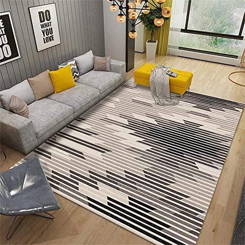 Antideslizante alfombra Underlay alfombra sala gris negro moderno minimalista geométrico diseño gráfico Alfombras para dormitorios 80x160cm