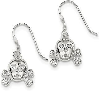 925 Sterling Silver Cubic Zirconia Skull with cross Bones Earrings (29mm x 14mm)