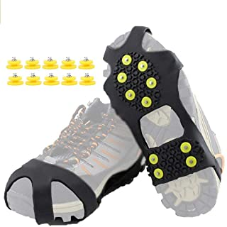HoFire Ice Cleats, Ice Grips Traction Cleats Grippers Non-Slip Over Shoe/Boot Rubber Spikes Crampons Anti Easy Slip 10 Ste...