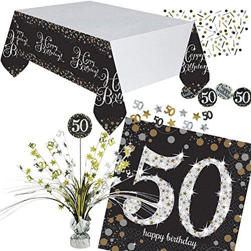 Nieuw: 46 stuks. Tafeldecoratieset * Sparkling Celebration * voor de 50e verjaardag   met Centerpiece + tafelkleed + confetti + servetten   Deco Set Party vijftig