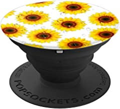 Sunflower Girasol Yellow Sun Flower Black White Dew Gift - PopSockets Grip and Stand for Phones and Tablets