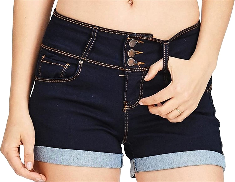 Women's Tummy Control Jean Shorts High Waist Buttons Cuffed Slim Denim Shorts Rolled Hem Stretchy Curve-fit Short Jeans