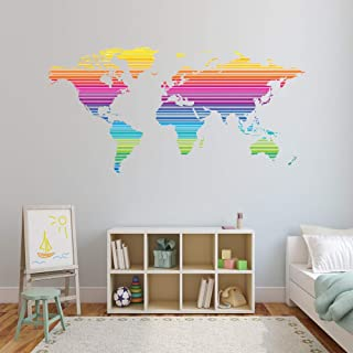 Style & Apply Colorful Stripe World Map Wall Decal Sticker Wall Sticker, Vinyl Wall Art, Home Decor, Wall Mural - SD5001 (18x36)