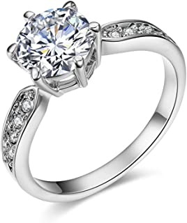 Serend 18k Rose Gold Plated 1.5ct Heart and Arrows Cut Cubic Zirconia Solitaire Wedding Engagement Rings, Gift for Valentine Day,Women's Day