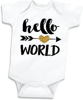 Hello World Shirt, Baby Girl Clothes, Newborn Glitter Bodysuit (0-3 Months)