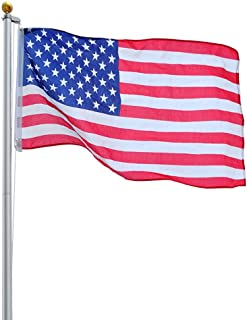 MRT SUPPLY 30ft Upgraded Aluminum Sectional Flag Pole US Flag Top Ball Flagpole Kit with Ebook