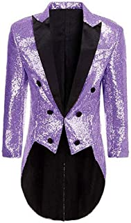 Men's Sequins Tailcoat Tuxedos Prom Party Jacket Perfermance Costume Blazer Dinner Coat