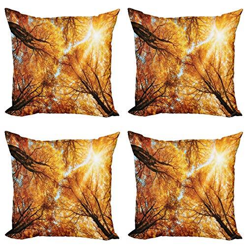 ABAKUHAUS Árbol Set de 4 Fundas para Cojín, Los Rayos de Sol de otoño Bosque, Estampado Digital en Ambos Lados y Cremallera, 50 cm x 50 cm, Naranja Amarillo Marrón Oscuro