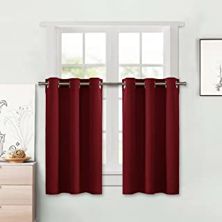NICETOWN Blackout Small Window Valances Curtains - Pair of Thermal Insulated Eyelet Top Plain Blackout Tier Curtains (42 Width x 24 inches Length + 1.2 inches Header, Burgundy)