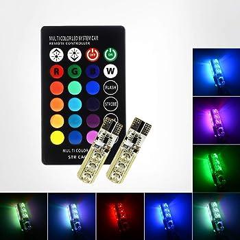 Fydun Lampadine 16 colori 2 pezzi RGB LED T10 168 194 2825 W5W Map Dome Telecomando interno
