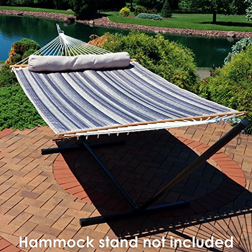 Sunnydaze Quilted Fabric Hammock Two Person with Spreader Bars Heavy Duty 450 Pound Capacity, Mountainside