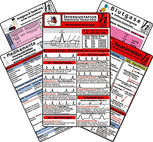 Intensiv-Station Karten-Set - Analgesie & Sedierung, Blutgase & Differentialdiagnose, Herzrhythmusstörungen, Inkompatibilitäten intravenöser Medikamente, Reanimation