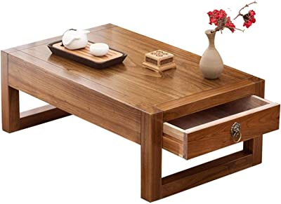 Coffee Table, Chinese Tea Table Tatami Platform Low Table with Hidden Storage Compartment Creative Balcony Bay Window Table,1,80 * 50 * 30cm