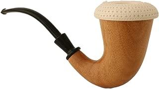 Block Meerschaum Pipe - Calabash - Sherlock Holmes Pipe - Hand Made from The African Mahogany Wood - 100% Block Genuine Meerschaum Insert Bowl - Smoking Tobacco Pipe - X Large
