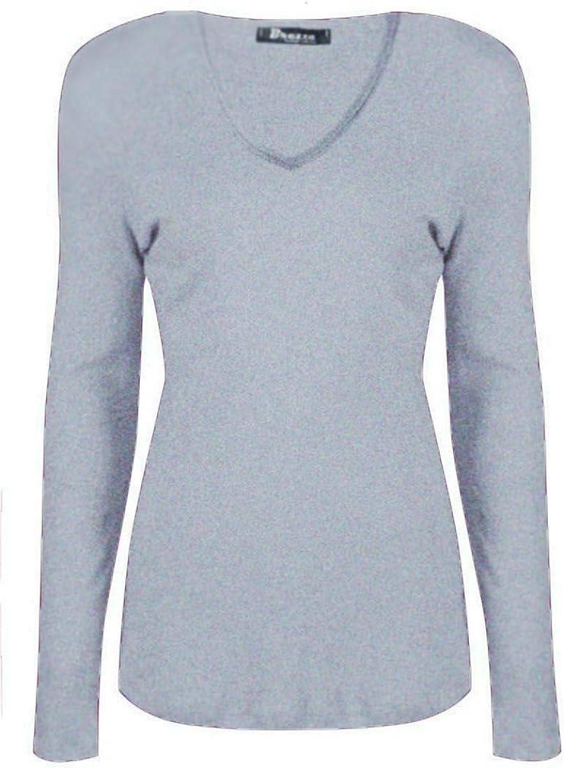Marietta Ladies Womens V Neck Long Sleeve Plain Slim Fit Basic Top Stretchy T-Shirt