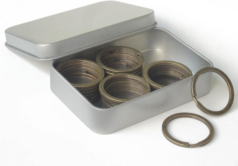 Shapenty 25PCS Antique Bronze Flat Split Key Chain Ring Connector Metal Keychain Keyring Clip Loop Holder, 1.2 Inch, Bronze Tone