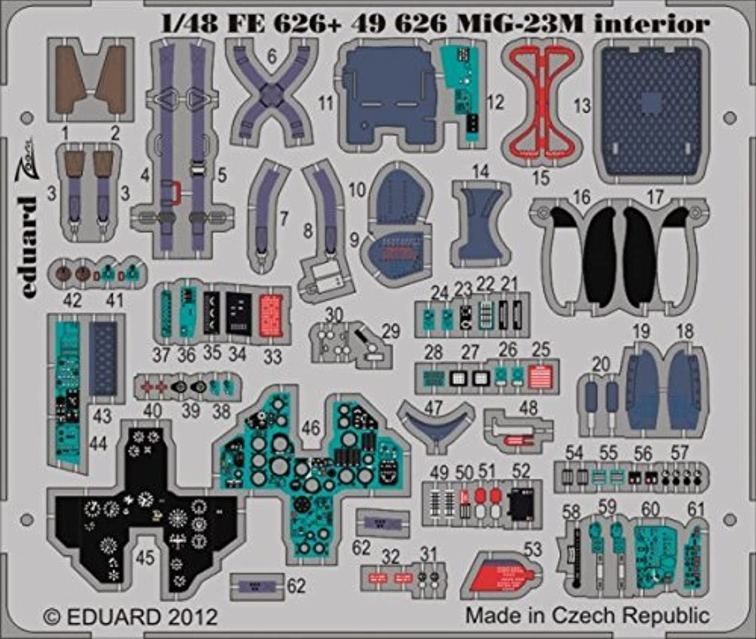 EDU49626 1 48 Eduard Farbe Photo Etch Detail Set for the 1 48 Trumpeter MiG-23M Flogger model kit by Eduard