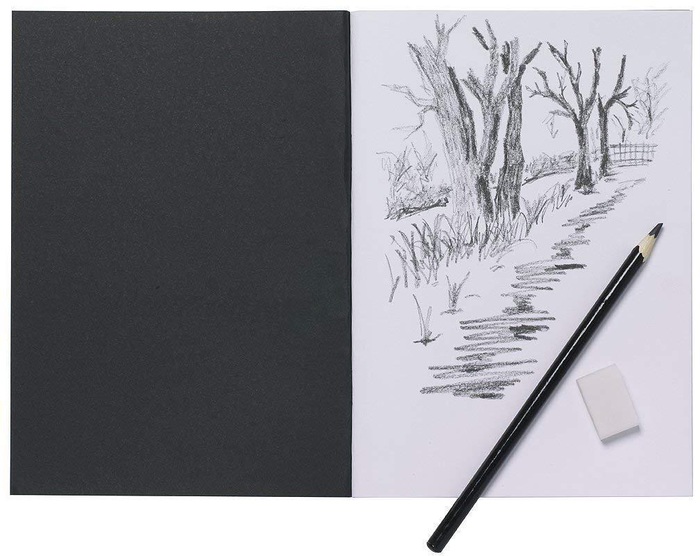 2xA5 Artist Sketch Book White Cartridge Paper Black Card Cover Art Pad