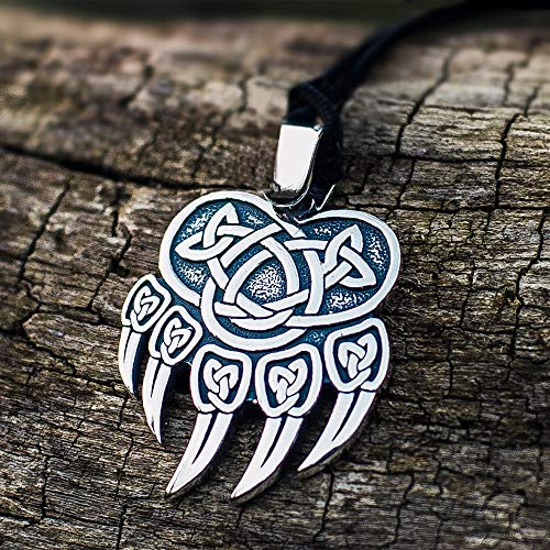 SDFASD Celtics Vikingo Color Plata Acero Inoxidable Garra De Oso Colgante Collar Amuleto Nórdico Joyas