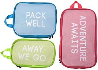 Miamica Packing Cubes for Travel, 3-Piece Set, Red/Blue/Green (Multi) - M31028
