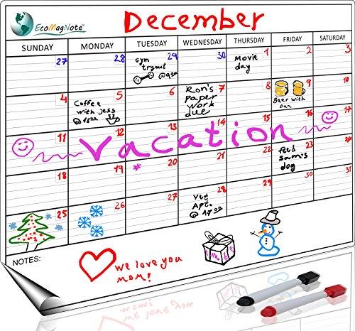 Monthly Magnetic Refrigerator Calendar | Dry Erase Calendar for Fridge | Magnetic Whiteboard for Refrigerator | White Fridge Magnetic Planner Organizer By EcoMagNote | BONUS Markers & eBook Included