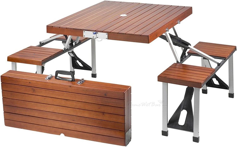 Mesa de picnic de madera plegable con sillas, juego de asiento de camping con marco de aleación de aluminio portátil y plegable, mesa y silla plegables de una pieza con agujero para paraguas