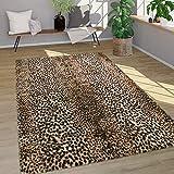 Alfombra Pelo Largo Piel Sintética Motivo Leopardo Lavable Suave Marrón, tamaño:Ø 80 cm Redondo