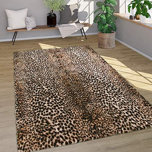 Alfombra Pelo Largo Piel Sintética Motivo Leopardo Lavable Suave Marrón, tamaño:Ø 80...