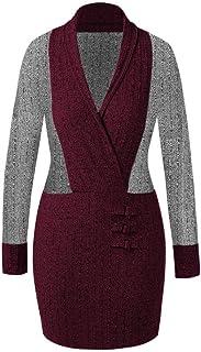 Plus Size T-Shirt Dress, Malbaba Long Sleeve V Neck Color Blocking Mini Bodycon