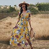 QUNLIANYI Robe Longue Imprimé Floral Femmes Été à Manches Courtes Glands Dentelle Robes de Plage Col en V Fendu Robe de Soirée Vintage XL Jaune