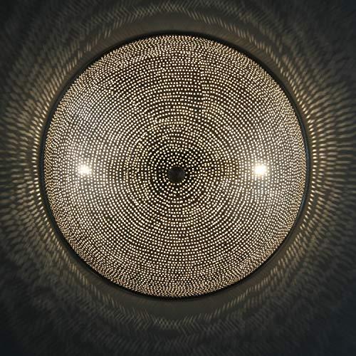 Casa Moro Orientalische Wandlampe Sadi D35 cm Silber | Echt versilberte Messing-Lampe | Prachtvolle Wandleuchte wie aus 1001 Nacht | AWL300